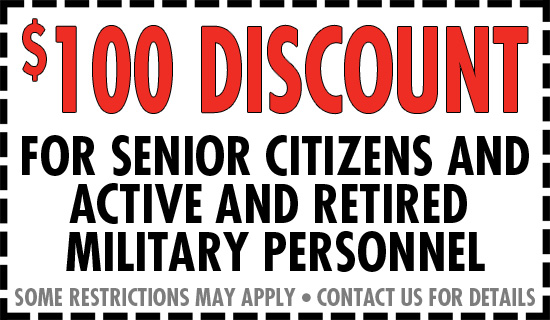 Discount for Senior Citizens and Active and Retired Military Personnel